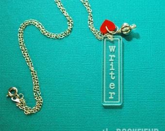 writer acrylic necklace
