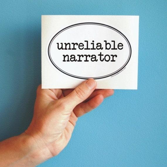 unreliable narrator oval sticker