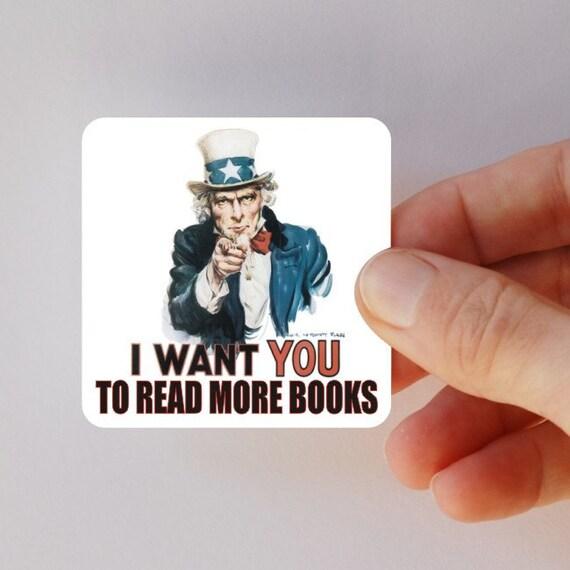 Uncle Sam read more books square magnet