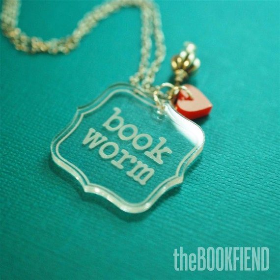 book worm acrylic necklace