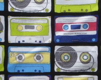 Timeless Treasures Mix Tape Cassettes fabric Long Quarter Yard