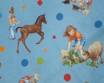 American Jane Peas and Carrots Farm Animals Children Blue  moda fabrics FQ or more