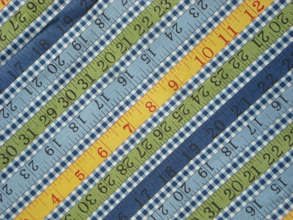 American Jane Wee Play Rulers blue check moda fabrics FQ or more