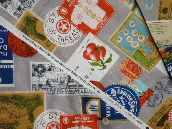 Vintage Art Store grey Susan Gower Nifty Thrifty Dry Goods Lecien fabric FQ or more