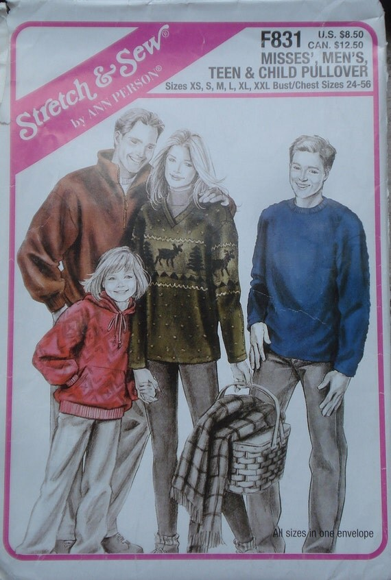 Stretch & Sew sewing pattern Misses Men Teen Child Pullover jackets