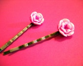 Flower Bobby Pins Antiqued Bronze Hair Pins with Petite Resin Rose Flowers Set of 2