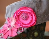 The Lana Hat - Light Gray Hat Embellished with Fabulous Hot Blooms in Pink Satin, Ribbon, and Bling Jewels