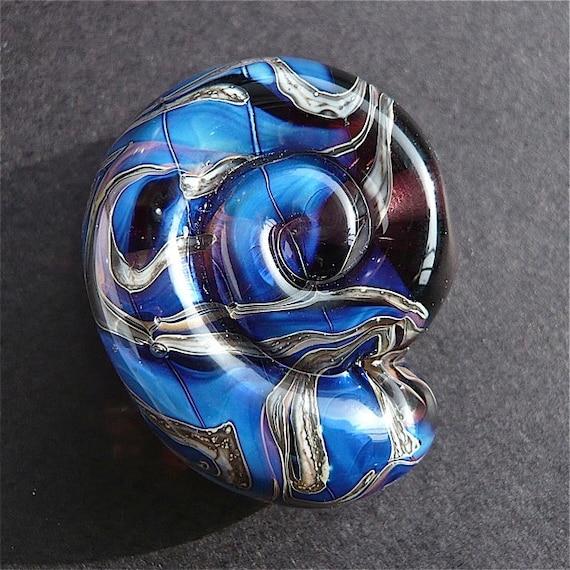 Glass Lampwork Bead Blue Purple Ammonite Spiral Focal SRA