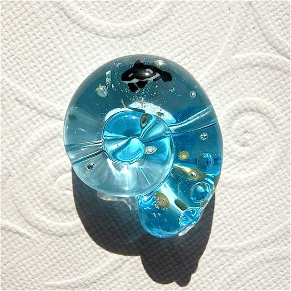Glass Lampwork Bead Focal Ammonite Shape Blue Ocean Killer Whale SRA