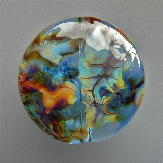 Lampwork Glass Focal Bead Blue Earth SRA