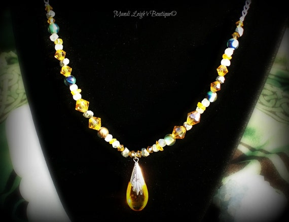 Reserved for Mary Amber Gemstone Necklace Mother Goddess Essence of Life