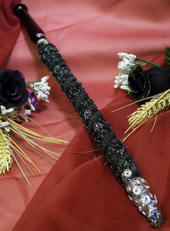 Adorn Black Lace Pyrite, and Silver Wand