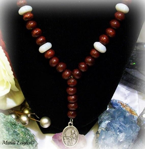 Saint Ignatius Rosary  Red Sandalwood and Botswona Agate
