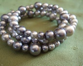 Shades of Silver -dark and light silver glass pearl beaded bracelet