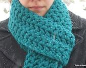 Thick aqua blue crochet scarf