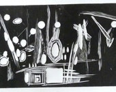 black and white wood engraving, abstract