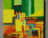 Abstract Oil Painting Landscape in Green, Yellow, Orange and Blue