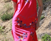 On HOLD Chica Bonita Mexican Dress Natural Cotton Hand Embroidered Flowers 60s 70s