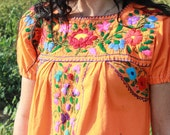On HOLD Lovely Tangerine Vintage Hand Embroidered Mexican Dress Pretty Bohemian Flowers