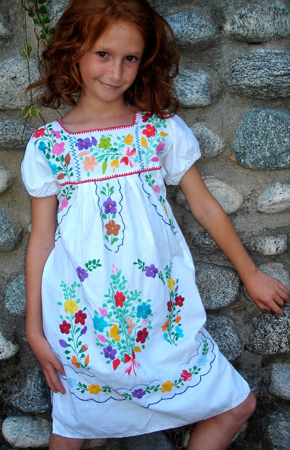 Mexican Cutie Little Girls Vintage Mexican Dress Hand By