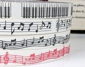SALE Zakka Retro Cotton Ribbon Fabric  Sewing Tape  Label /-Music melody Collection 4styles-4 Yards