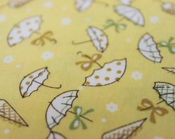 ON SALE -100cm x 140 cm-Japanese cotton fabric--Pretty umbrella in Yellow- ( 56in X 40in )