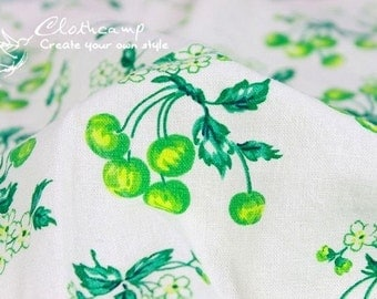 ON SALE--Japanese cotton linen fabric -Green Cherry in White ( 1yard)