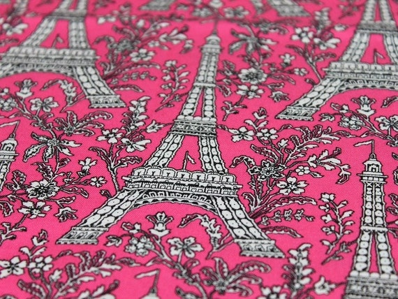 ON SALE  Cotton fabric -Paris Eiffle and Flowers in Purple - by the yard