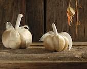 Set of 2 decorative golden  velvet pumpkins