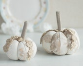 Shabby Chic decorative pumpkins, set of two