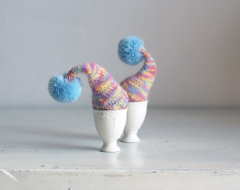 SALE 10% OFF Multicolor egg cozies with blue poms
