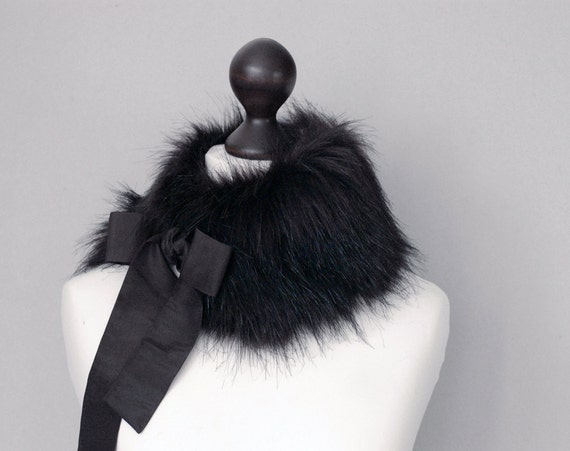 Black faux fur collar. Fur neck warmer. Womens fur collar. Buy faux fur collar