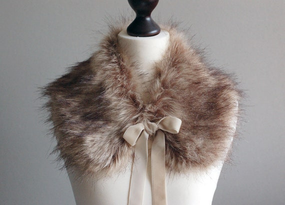 Light brown collar from soft faux fur