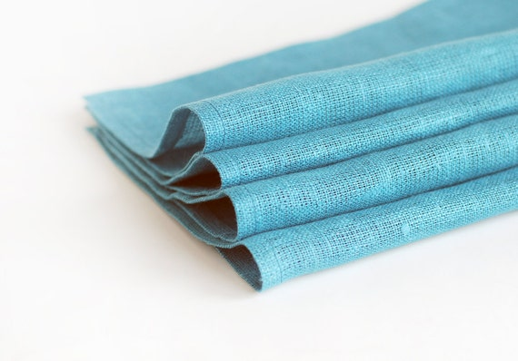 RESERVED Turquoise linen napkins, set of 12