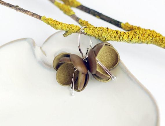 Boho style leather earrings in moss green