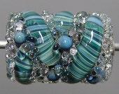 Blue  Green Lampwork  Focal Bead  SALE