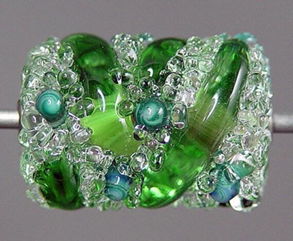Emerald Green Lampwork  Focal Bead   SALE