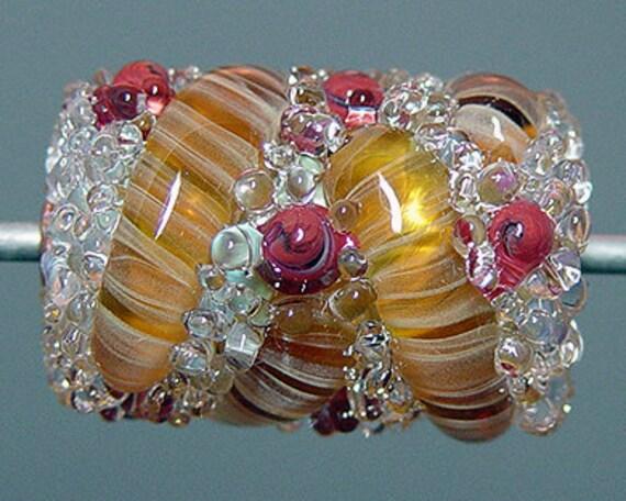 Lampwork   Bead Amber  SALE