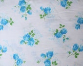 Vintage Fabric Blue Roses Cotton Fat Quarter Vintage Bed Sheet Fabric