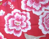 Red Large Floral Bird Print Vintage Sheet Upcycled Fabric Fat Quarter