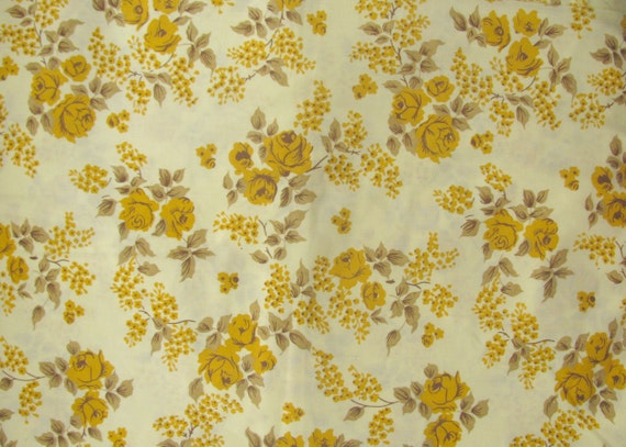 Mustard Lemon and Taupe Brown Roses and Leaves Flower Print Vintage Fabric Fat Quarter