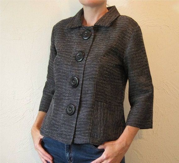 Black and Ivory Tweed Big Button Jacket
