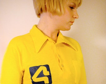 Vintage Polo Shirt Channel 4 Milwaukee 1980s Gold Logo Shirt Wisconsin