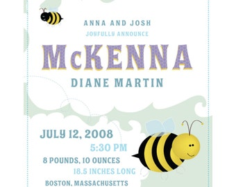 Custom Birth Print-Bumblebees-8x10