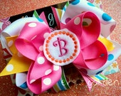 Embroidered Monogrammed Initial Layered Boutique Style Bow Pink Orange Green Yellow Stripes Polka Dots