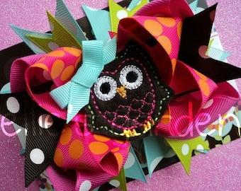 Birthday Owl Boutique Style Hair Bow Pink Lime Green Aqua Orange