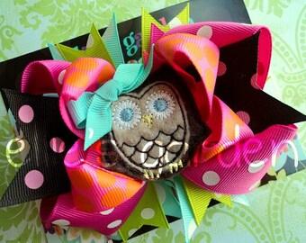 Owl Boutique Style  Layered Birthday Bow Pink Lime Green Aqua Orange