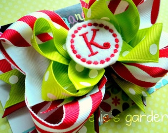Christmas Holiday Personalized Initial  Boutique Style Hair Bow Red and White Stripes Lime Green Polka Dots