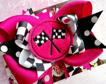Checkered Racing Flag Boutique Style Hair Bow Hot Fuschia Pink and Black
