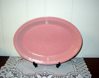 Vintage  Fiesta  Rose  Pink  Oval  Platter